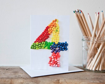 Four Years old Jellybeans Happy Birthday Card