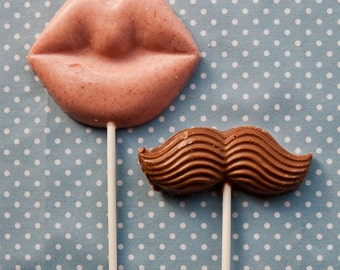 Mr and Mrs Lips & Moustache card