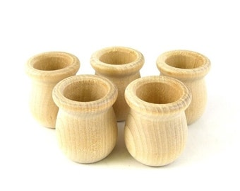 Wood Bean Cup Set of 5 Waldorf Style