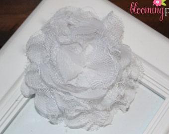 White Lace Chiffon Flower Clip