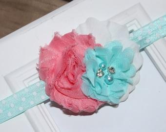 Aqua/Coral Shabby Chic Newborn Infant Flower Headband