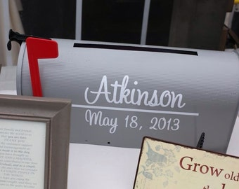 Wedding Mailbox Decal - Last Name with Establish Date for both sides