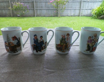 Norman Rockwell Collectible Mugs Set of Four