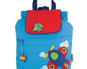 FREE PERSONALIZATION - Embroidered Personalized Stephen Joseph Airplane Bag ,SJ-1001-81A, School Bag