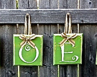NOEL Christmas Country Decor - Green Hanging Wooden Alphabet Block Sign with Jute Ribbon