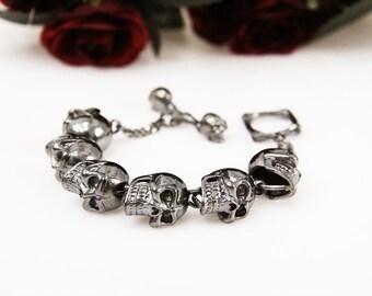 Silver Big Human Skulls Bracelet / Punk Rock Jewelry / Silver Plated Metal Skeleton Cuff