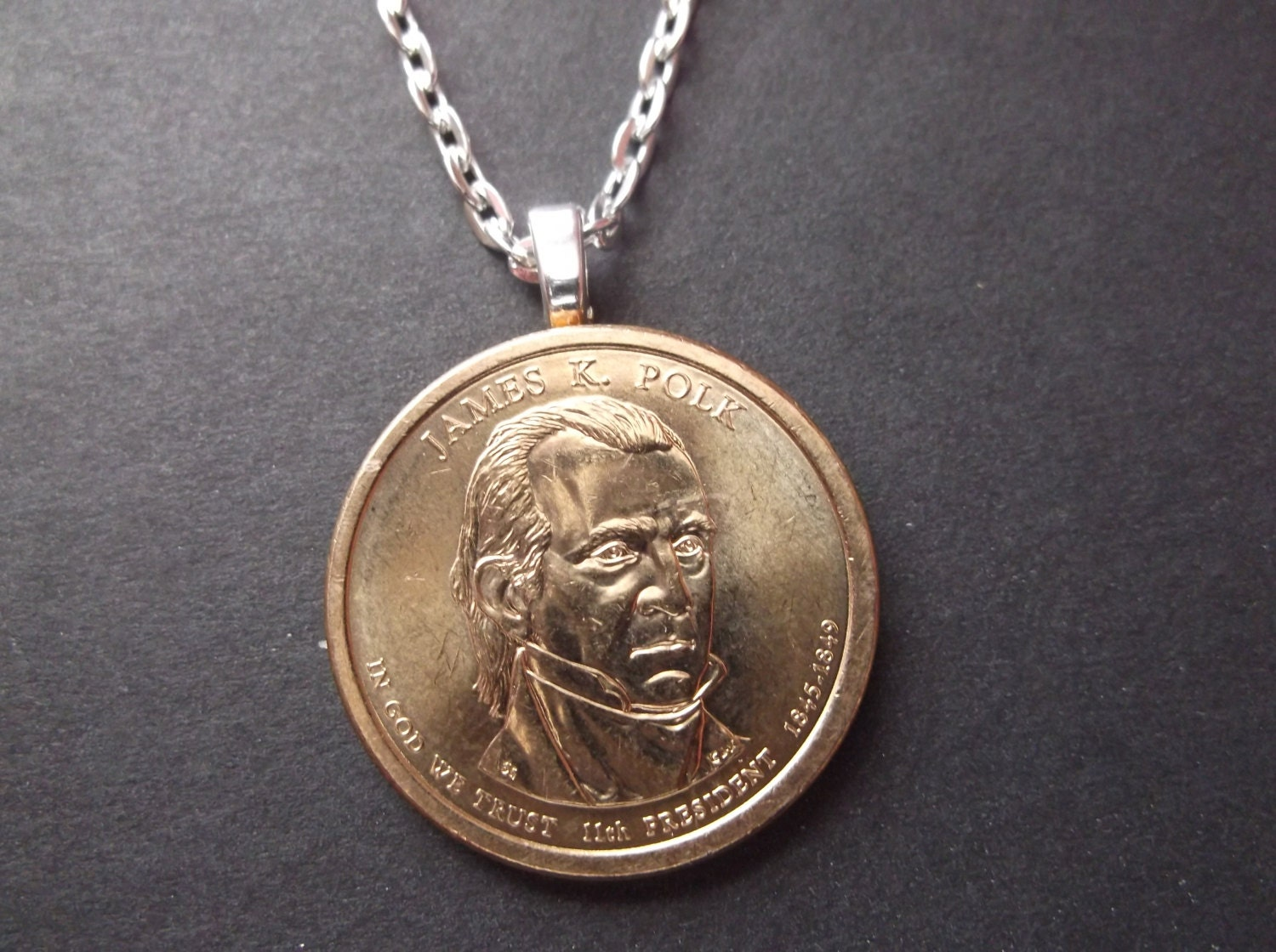 James K Polk United States Gold Colored Dollar Coin Necklace