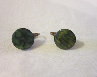 Vintage Scenic Green  Moonglow Disc clip on Earrings
