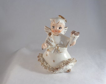 Vintage Holt Howard Happy Birthday Angel Candle Holder with Spaghetti and Gold Trim
