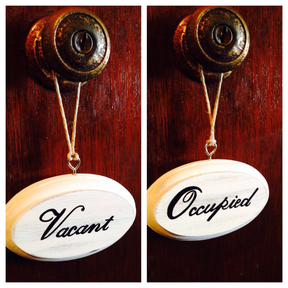 Vacant Occupied Double Sided Bathroom Sign White