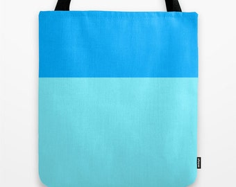 Blue Tote Bag Color Block Sky Blue Tote Bridesmaids Gifts Canvas Tote Bag Bright Blue Tote Bag 16x16 inch Tote Bag Gift for Her Christmas