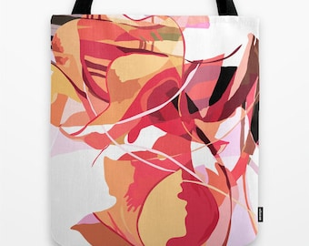 Women's Tote Bag - Canvas Tote Bag, Red and Pink Tote, Abstract Art Tote