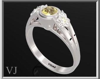 Flower Engagement Ring,925 Sterling Silver Three Stone Flower Engagement Ring With Yellow Citrine,Solitaire Engagement Ring
