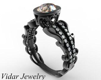 Morganite Engagement Ring,Black Gold Engagement Ring,Unique Engagement Ring,Oval Engagement Ring,Vintage Engagement Ring,Custom Ring