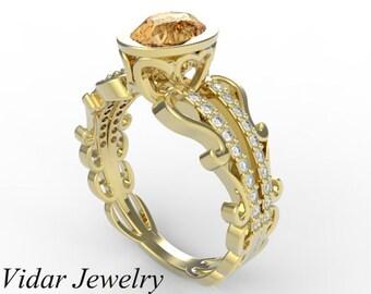 Yellow Sapphire Engagement Ring,Diamond Engagement Ring,Unique Engagement Ring,Oval Engagement Ring,Vintage Engagement Ring,Custom Ring