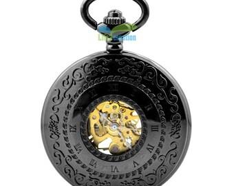 Skeleton Black Pocket Watch Mechanical Hand Wind Half Hunter Vintage Look Value Quality  Groomsmen Gift 800-024