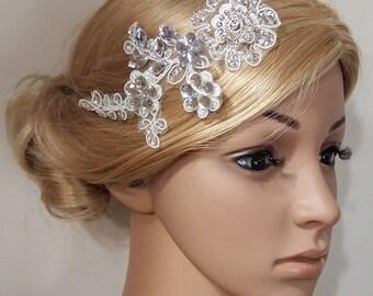 Bridal Head piece, Bridal Hair Comb, Wedding Hair Comb, bridal Fascinator, Bridal Hair Clip, Wedding Fascinator, Ivory lace flower HB300
