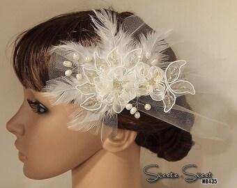 Lace Flower Hair Comb, Bridal Veil, Wedding Veil, Bridal Comb, Face Veil, Birdcage Veil, Blusher veil, Gatsby, Head piec