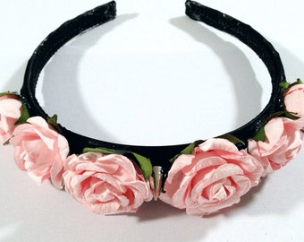 Pink Rose Spike Headband