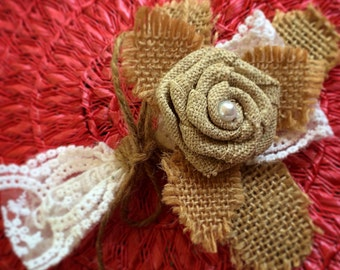 Burlap pin on corsage
