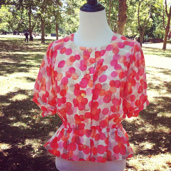 Vintage Peplum Blouse Pretty in Pink and Coral