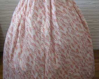 long Red Orange Paisley Calico BOHO Gypsy Hippie Prairie Pioneer Colonial Civil War Renaissance maxi SKIRT - one size fits all