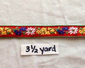 Vintage Red Jacquard Ribbon With Multicolor Flowers