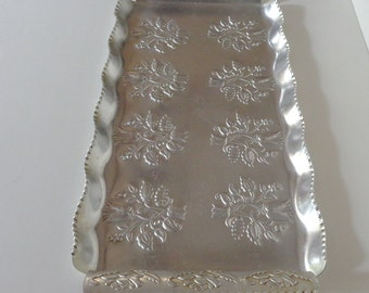 Vintage Aluminum Serving Tray, Floral Embossed Tray, 1940s Serving Tray, Display Tray