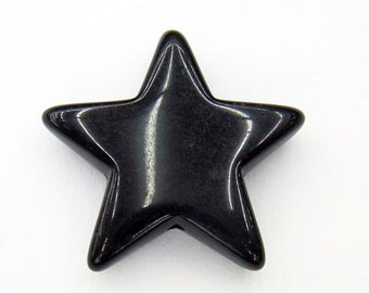 10 Black Acrylic Star Beads 26mm