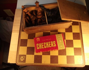 Antique Chess and Checkers Game Set