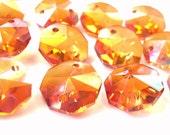 25 Iridescent  Pumpkin Chandelier Crystal Beads Octagon Crystal Shabby Chic Crystal Prisms 14mm Orange Halloween Autumn Colors Peach