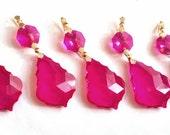 5 Chandelier Crystals Hot Pink French Cut 38mm Fuchsia Teardrop Ornament Chandelier Crystal Prism