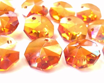 25 Iridescent  Peach Chandelier Crystal Octagon Beads Shabby Chic 14mm