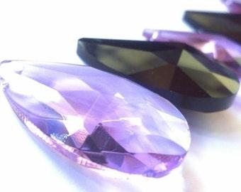 6 Chandelier Crystals Jet Black Lilac Teardrop Almond Crystal Prisms