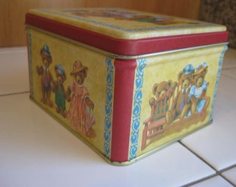 Teddy Bear Tin Box The 3 Bears 1980s Tin Box