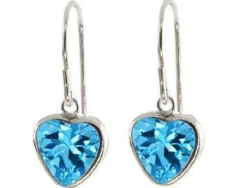 2 Carat Blue Topaz Bezel Heart Dangle Earrings .925 Sterling Silver Rhodium Finish
