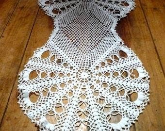 All White Decor ,Crochet Table Runner , Vintage Portuguese Crochet Table Center