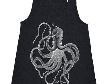 Octopus Tank Top - Women's American Apparel Tri Blend Racerback Tank Top - Octopus Shirt - Octopus Clothing - Nautical Shirt Clothing