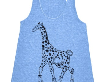 Giraffe On Roller Skates Tank Top Women's American Apparel Tri-Blend Racerback Tank Top Black Print