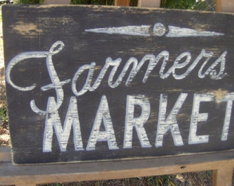 Vintage look distressed Farmers Market Sign/Kitchen/Black White and Blue