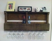 Reclaimed wood 8 bottle wine rack with hanging wine glass holder