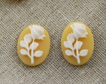 6 pcs of resin rose cabochon cameo 13x18mm-white on yellow