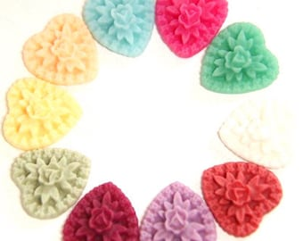 20 pcs of resin heart cabochon-16x18x5mm-RC0455-Mixture color