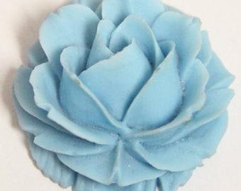 6 pcs of resin rose cabochon-38x38x20mm-RC0069-blue