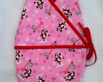 North Pole Penguins Pink Kimono Baby Swaddle