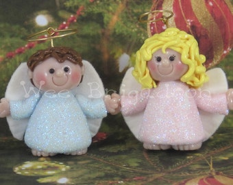 Wee Angel Christmas Ornament OOAK baby shower Handmade baby's first