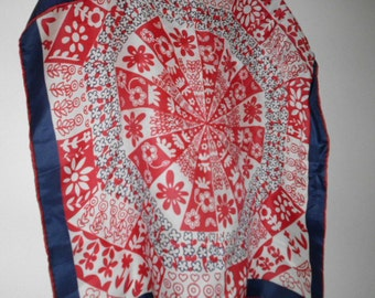 Vintage red white and blue floral silk Sally Gee scarf