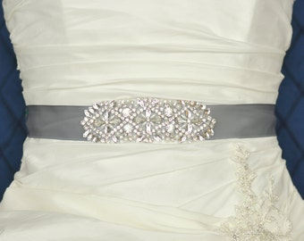 HAILEY Wedding Belt, Bridal Belt, Wedding Sash, Bridal Sash, Crystal Rhinestone Belt, Wedding Dress Sash Belt, Jeweled Beaded Belt GRAY