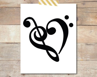 Treble & Bass Clef Heart Digital Print