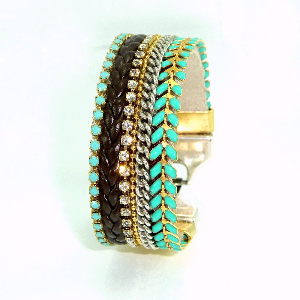 turquoise gold statement bracelet boho chic friendship